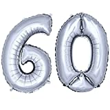 DekoRex ® Folienballon Zahlenballon Luftballon Geburtstag Deko 40cm Silber Zahl: 60