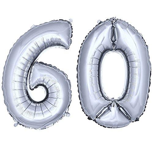 DekoRex número Globo decoración cumpleaños Brillante para Aire en argentado 40cm de Alto No. 60