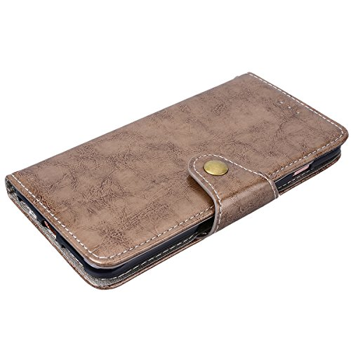WE LOVE CASE iPhone 7 Plus 5,5 Hülle Schutzhülle , iPhone 7 Plus 5,5 Lederhülle Im Retro Style Muster Tasche Handytasche Backcover Stoßfest Protective Bumper Case Cover Brieftasche Kartenfächer Karten Hell Braun