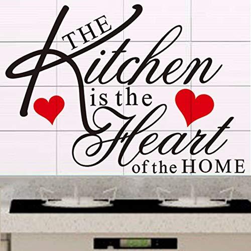 yiyiyaya Die Küche ist das Herzstück des Zuhause Zitat Wandtattoo entfernbare Vinyl Wandaufkleber Küche dekorative Wandaufkleber 60 * 43CM