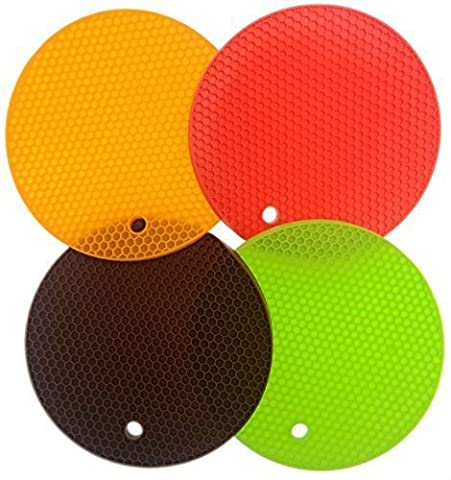 iNeibo Kitchen Runde Bienenwabe topfuntersetzer silikon hitzebeständig -4er Pack- Spülmachinefest- langlebig- 4 Unterschiedliche Farben- Multifunktions: topfuntersetzer, topflappen, topfhalter, topfschoner, Deckelöffner