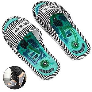 Massage-Hausschuhe, Fuß Akupressur Shiatsu-Massage mit Magnetstein Gesunde Fußpflege Massage Ball Massager für Männer Frauen(männlich)