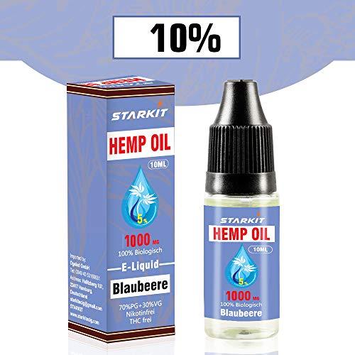 STARKIT® CBD Liquid 1000mg, Vape Öl 10ml mit 10% Cannabidiol Hanf Öl für E Zigaretten Starter Set SMOK E Shisha, PG70/VG30 E Liquid, ohne Nikotin, ohne THC, Blaubeere Geschmack (Blaubeere, 1000mg)