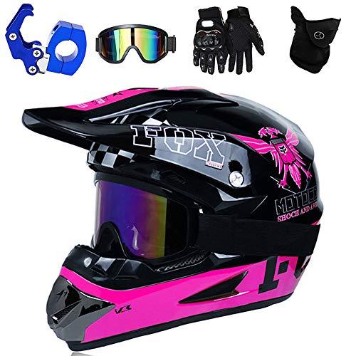 PKFG® Casque Moto Cross Adulte Noir Violet Set, HG-32 Motocross Casque de Moto avec Lunettes Gants Masque Crochet de Casque, pour Homme Femme Sport Kart Motoneige VTT,S(52~53CM)