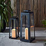 Lot de 2 x Lanternes Solaires Noires en Métal avec Bougie LED pour Jardin par Lights4fun