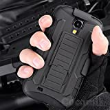 Galaxy S4 Active Coque, Cocomii Robot Armor NEW [Heavy Duty] Premium Belt Clip Holster Kickstand Shockproof Hard Bumper Shell [Military Defender] Full Body Dual Layer Rugged Cover Case Étui Housse Samsung I537 I9295 (Black)