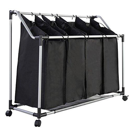 FDS Wäschekorb 4 Fächer Wäschewagen, Wäschebox, Wäschesammler, Wäschesortierer, Schwarz