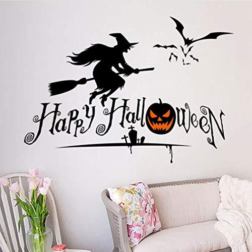 Mitlfuny Halloween Vinyl Aufkleber Happy Halloween Schlafzimmer Dekoration FüR Zuhause Kinderzimmer Wandsticker Wandbilder Wandaufkleber
