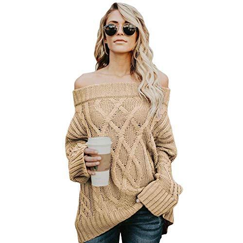 KAIDILA Kaki aus der Schulter Winter Pullover Weihnachten Geschenke Herbst Winter Pullover einfarbig Bandeau Hals Lange Ärmel aus Umhängeta R gerippte Strickpullover weiblich -