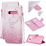 BONROY Genuine Case, Premium Wallet Case with [Card Slots] [Magnetic Closure] Flip Notebook Cover Case for Samsung Galaxy S10 Plus-(Pink Marble - HX)