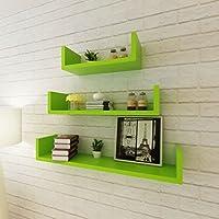 Lingjiushopping 3estantes para paredes verde MDF para libros/DVD color color verde material: MDF con acabado mate