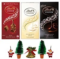Lindt Lindor Combo of 3 Irresistibly Smooth Chocolates (White + Milk + Extra Dark) , 100gm Combined with X'MAS GOODIES