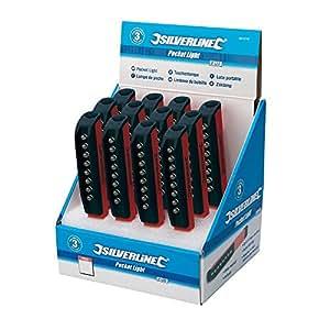 Silverline 941210 Présentoir de 12 lampes de poche 8 LED