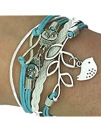 BLUE Vintage Handmade Infinity 8 Owl Leaf Bird Leather Bracelet Wristband including gift box by BOOLAVARD