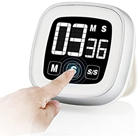 Novelty Touch Screen Digitale Timer da cucina, ampio display allarme magnetico supporto schiena e conto (Libero Su Font)