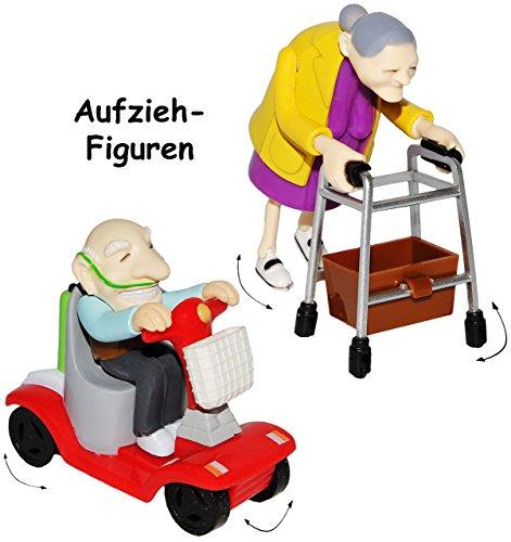 """2 tlg. Set _ Aufziehfiguren mit Rückzugsmotor - """" lustige OMA & OPA """" - Aufzieh Figuren zum Laufen & Wettrennen - lustig witzig - Geldgeschenk - Uroma - Geburtstag 60 / 70 / 80 - Aufziehspielzeug - lustiger Partyartikel - für """" alte Säcke """" - Rollator - Rentenbeginn Rente - Gehgestell - Scherz / Scherzartikel - Pfleger Pflegen - Geburtstagsparty Jahre - siebzigster - Rentner / Rentnerin - Oma´s Rentenkasse / Rente - Geld - Rentnerin / Großmutter - Großeltern"""