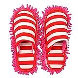 Selric Hausschuhe mit Abnehmbar Wischmopp Streifen rot, Mop Hausschuhe mit reinigender Mikrofaser-Sohle 25cm [Größe EU:36-39]