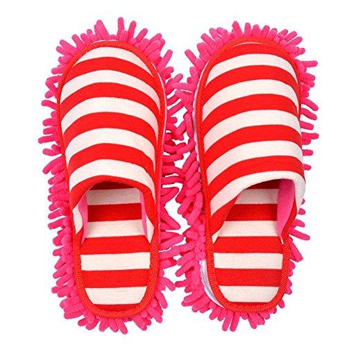 Selric® Raya Zapatillas Mopa Rojo, Zapatos Desmontables y Lavables Para Mujer , Pantuflas de fibra para limpieza de polvo,ultra ligero zapatos de interior 25cm [tamaño EU:36-39]
