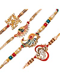 To The Nines Alloy, Mauli and American Diamonds Elegant Rakhi for Beloved Brother (Golden, Free Size) - Set of 4