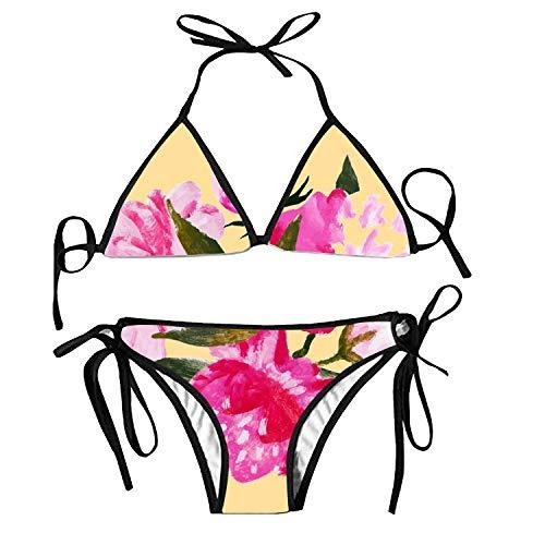 Women's Sexy Padded Push Up Bikini Set Abstract Flowers Endless Two Pieces Swimsuit Swimwear (Beute Rakete)