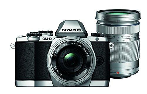 Olympus OM-D E-M10 kompakte Systemkamera inkl. 14-42 mm Pancake Objektiv und 40-150 mm Objektiv (16,1 Megapixel, 7,6 cm (3 Zoll) Display, WLAN, HDMI, USB 2.0) silber