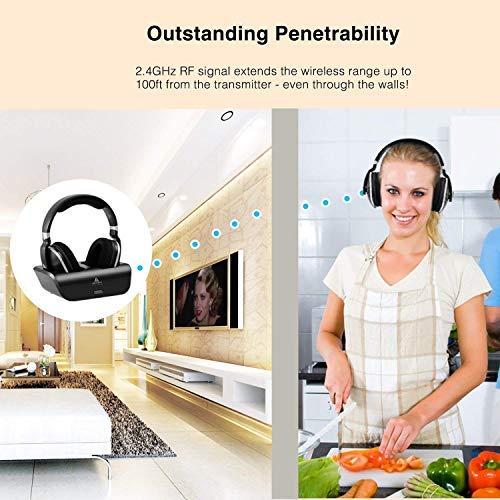 Digitales Funkkopfhörer 2.4GHz Übertragungsfrequenz Over Ear Kabellose Kopfhörer mit Ladestation Lautstärkeregler Geräuschunterdrückung Stereo Kopfhörer für Fernseher, HiFi, CD, DVD Spieler - 6