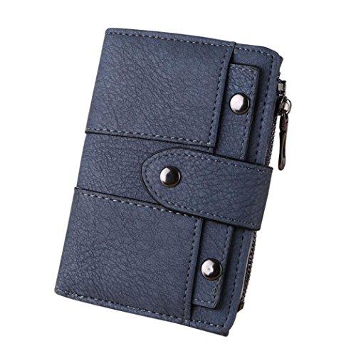 Rovinci Frauen Geldbörse Einfach Retro Nieten Kurze Brieftasche Münze Kartenhalter Handtasche (13.5cmX9.5cmX2cm, Blau B) (Blaue Nieten-handtasche)