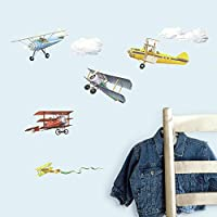 RoomMates Repositionable Childrens Wall Stickers Vintage Planes