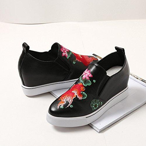 Khskx-the augmentation de chaussures en cuir et le nouveau pente avec Style Folk en noir femme. Thirty-nine
