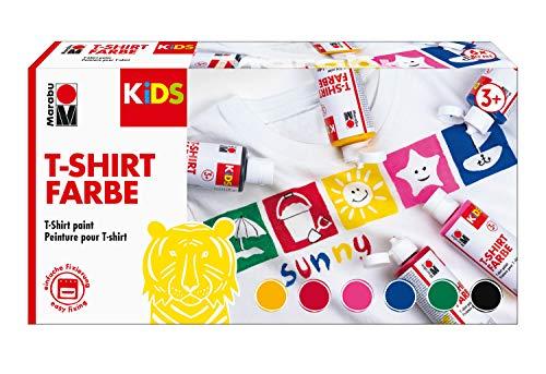 Design Kinder T-shirt (Marabu 0308000000001 - Kids T-Shirt Farbe, 6 x 80 ml, Stoffmalfarbe für Kinder, für kreative Designs auf hellen Textilien, nach Fixierung waschbeständig bis 60 °C, ideal für Kinder)