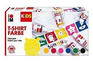 Marabu 0308000000001 Kids - Camiseta de Color para niños, 6 x 80 ml, Colores para Pintar Tela, diseños creativos en Tejidos claros, Lavable hasta 60 °C, Ideal para niños