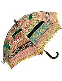 Hare Krishna Seda Bordada Zari Trabajo Hecho a Mano Paraguas de Sol Colorido Sombrilla Plegable Parasol