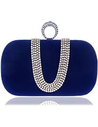 KYS Mujeres de poli¨¦ster de boda de noche bolsa de moda de tipo U Rhinestones mujeres embrague de diamantes de metal bolsas de noche Mini cadena de hombro bolso bolsas de noche , blue
