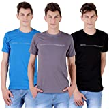 Tapasya Royal Blue Slate Black Round T-Shirt Pack Of 3