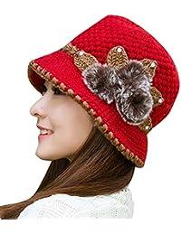 2b2f268d7f6c Femme Chapeau Ski Crochet Tricoté Fleurs DéCoréEs Hiver Chaud Bonnets De  Laine Cache-Oreilles Tricot