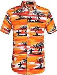 SSLR Chemise Hawaïenne Homme Tropical Cocotier Manche Courte Vacances