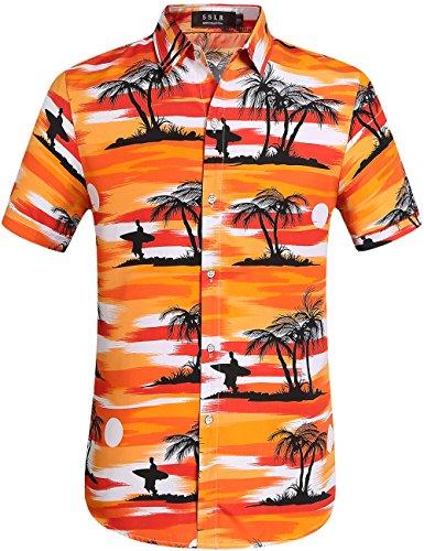 SSLR-Camisa-Hawaiana-para-Hombre-Manga-Corta-Casual-Straight-Fit-Verano-Palmas-Large-Naranja