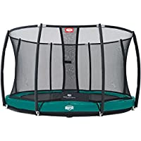 Berg Toys 37.14.92.00 Trampolin Elitemit Inground 430 mit Sicherheitsnetz T-Series, Grün