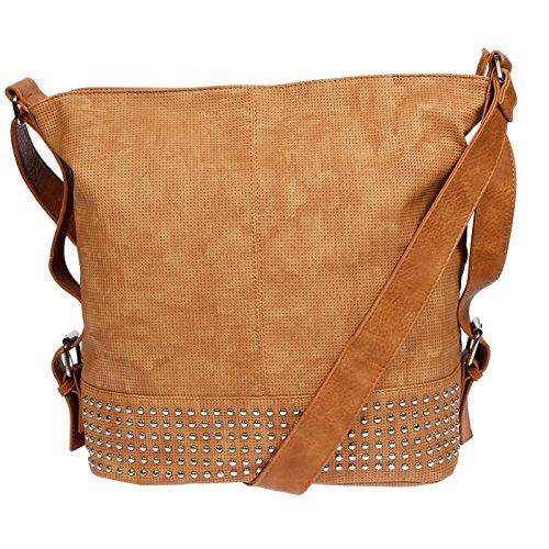 Damen Schultertasche Handtasche XL Umhängetasche 3122 (Cognac)