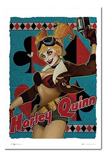 (DC Comics Harley Quinn Bombe Poster Magnettafel weiß gerahmt, 96,5x 66cm (ca. 96,5x 66cm))