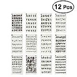 yeahibaby Sets de plantillas de plástico, letras y números Plantillas Drawing Painting Stencils-Marcos para álbum de recortes, journaling, Graffiti y artesanía, 12unidades)