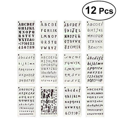 YEAHIBABY Schablonen-Sets aus Kunststoff,Buchstaben und Zahlen Schablonen Drawing Painting Stencils Template für Sammelalbum,Journaling,Graffiti und Handwerk,12 Stück