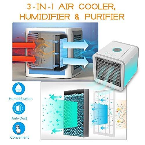 GESUNDHOME Aire Acondicionado Móvil 3en1 Mini Ventilador Humidificador Purificador de Aire Personal USB Climatizador Portátil [Sin Freón] para Casa/Oficina (Gris)