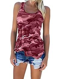 Zojuyozio Las Mujeres Casual Camiseta Camuflaje Racer Back Tank Top Plus Size