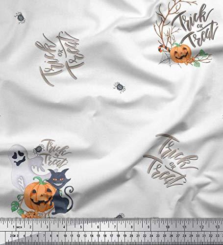 Soimoi Weiß Baumwoll-Popeline Stoff Geist & Katze Halloween Stoff Meterware 56 Zoll breit