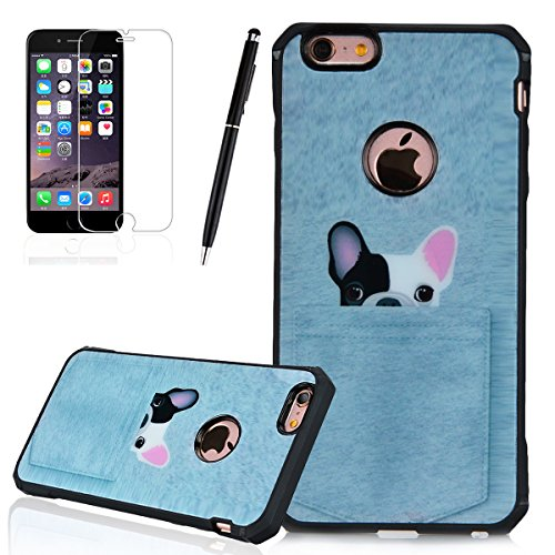 Cover iPhone 6, HB-Int 3 in 1 Custodia TPU Silicone per Apple iPhone 6 / iPhone 6S [Completa Design & Anti-Graffio] Bumper Colorful Pattern Chiaro Shell con Nero Telaio Cover Shock-Absorption e Anti-Scratch Clear Back per iPhone 6S + Pennino + HD Protezione dello - Cane