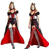 Nayayar Halloween, Vestito da Sfera Principessa Regina Cuore Rosso Cosplay della Regina, i Vestiti Decorazione di Halloween,M