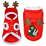 EROSPA® Haustier Welpen Hunde-Kostüm Mantel Rentier - Xmas Weihnachten Cristmas Santa Claus - Rot/Weiß (XL)