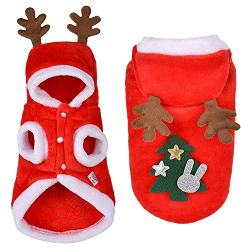 Für Weihnachten Haustiere Kostüm - EROSPA® Haustier Welpen Hunde-Kostüm Mantel Rentier - Xmas Weihnachten Cristmas Santa Claus - Rot/Weiß (M)