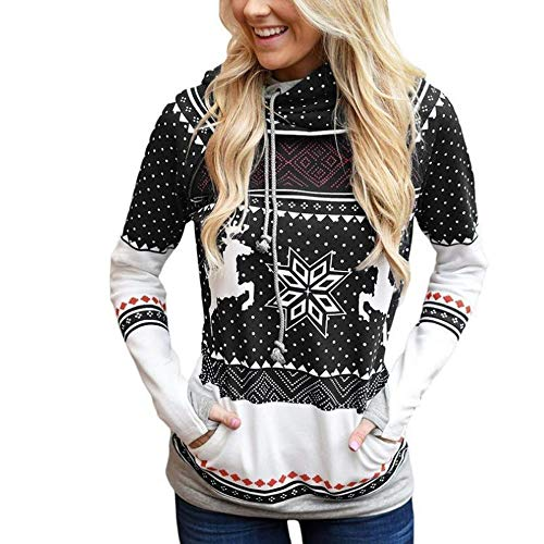 TIFIY Weihnachten Kapuzenpullover Damen, Frauen Punkte Elch Pullover Schneeflocke Drucken Bluse Freizeit Herbst Sweatshirt Oberteil Jumper Pulli (Schwarz 1,EU-42/CN-2XL)